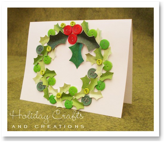 Homemade christmas card ideas wreath for Craft supplies for card making