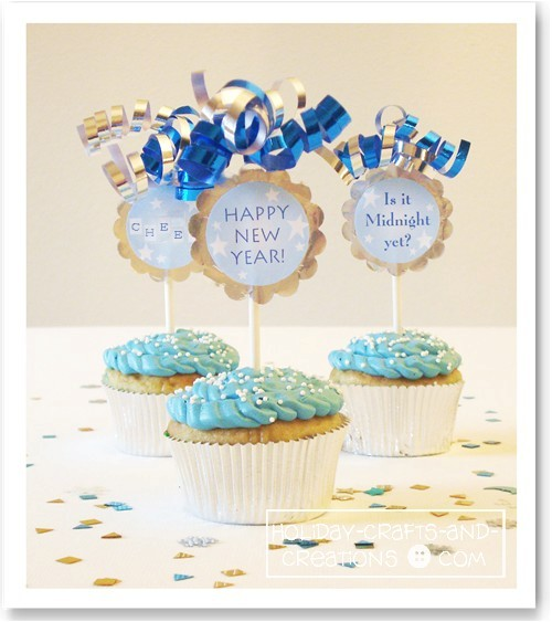 Cupcake Decorating Ideas New Years Eve : Printable Cupcake Toppers Free Hoosier Homemade Party ...