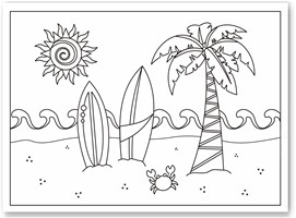 Summer Coloring Pages  Kids on Seashell Coloring Pages Beach Coloring Pages