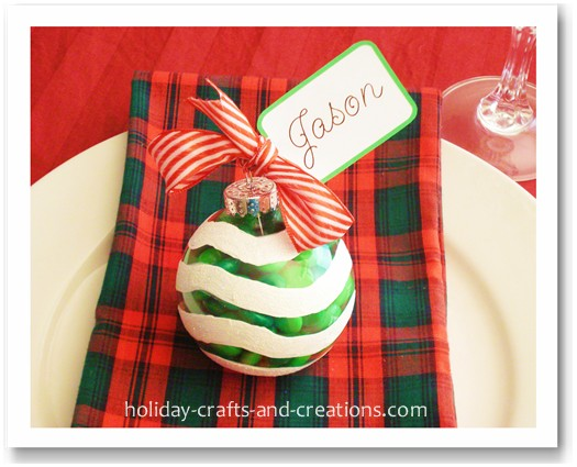 Christmas Place Cards Candy Ornaments - Christmas place cards template