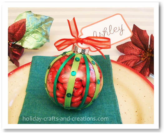 christmas place cards candy ornaments