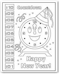 Clock Coloring Page Party Hats Coloring Page