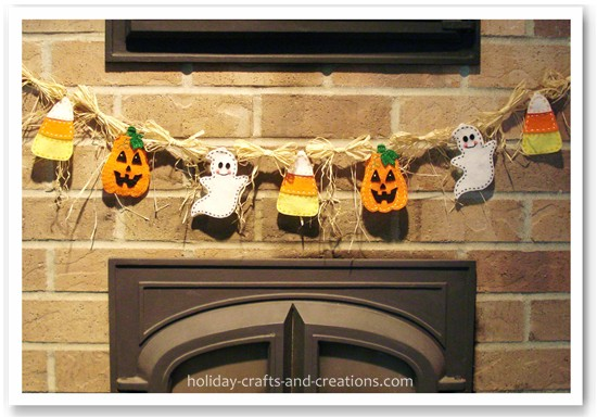 homemade halloween decorations halloween garland. Black Bedroom Furniture Sets. Home Design Ideas