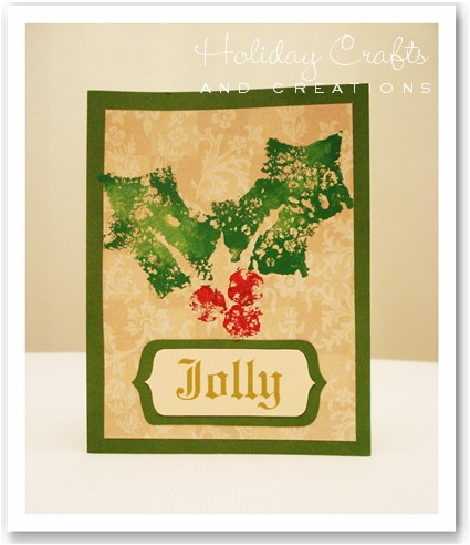 handmade christmas card ideas sponge stamped holly - Handmade Christmas Card Ideas