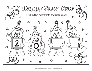 clock coloring page party hats coloring page - New Years Coloring Pages